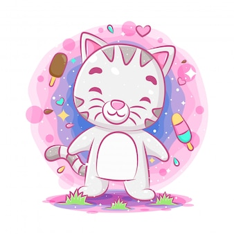 Funny cat standing and smiling with ice cream background