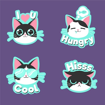 Funny cat sticker collection drawing