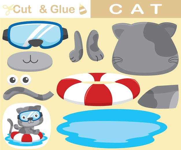 Funny cat wearing diving glass swimming with lifebuoy. education paper game for children. cutout and gluing.   cartoon illustration