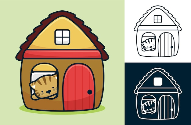 Funny cat in the window of little home.   cartoon illustration in flat icon style