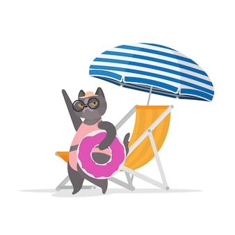 ピンクのフラミンゴ型のゴムリングが付いた面白い猫。デッキチェア、日傘。眼鏡と帽子をかぶった猫。ステッカー、カード、tシャツに最適です。孤立。ベクター。