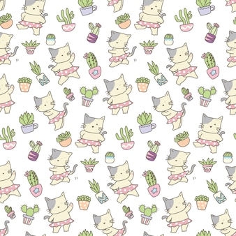 Funny cat with cactus seamless pattern