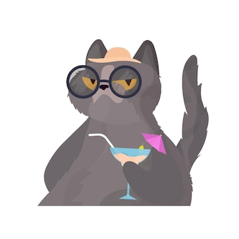 Funny cat with a cocktail. cat in glasses and a hat. good for stickers, cards and t-shirts. isolated. vector.