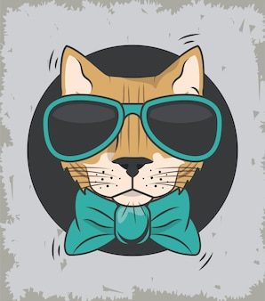 Funny cat with sunglasses cool style