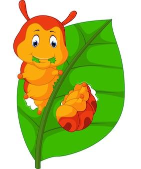 잎을 먹는 재미있는 애벌레