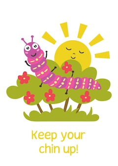 Funny caterpillar sits bush positive children greeting card