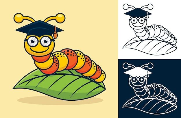 葉に卒業帽子をかぶった面白い毛虫。フラットアイコンスタイルのベクトル漫画イラスト