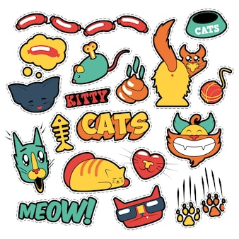 Funny cats badges, patches, stickers - cat fish clutches in comic style.  doodle