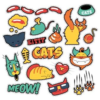 面白い猫のバッジ、パッチ、ステッカー-コミックスタイルの猫の魚のクラッチ。いたずら書き