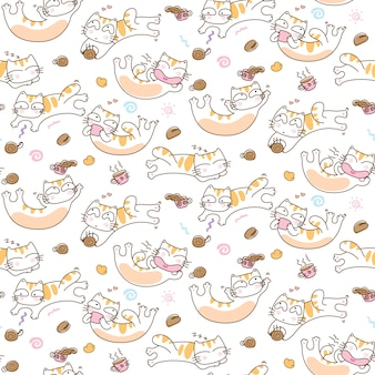 Funny cats and coffee cup seamless pattern background