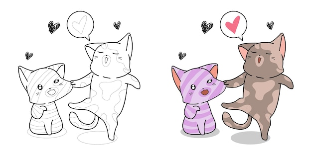 Funny cats coloring page for kids Premium Vector