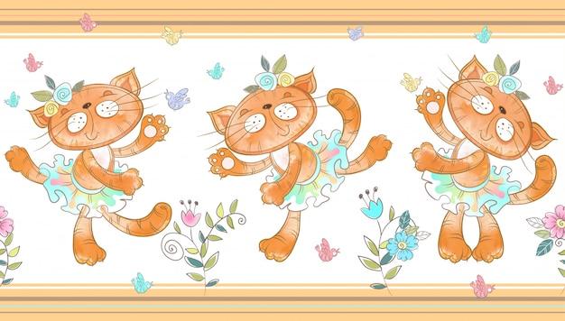 Funny cats dancing seamless border