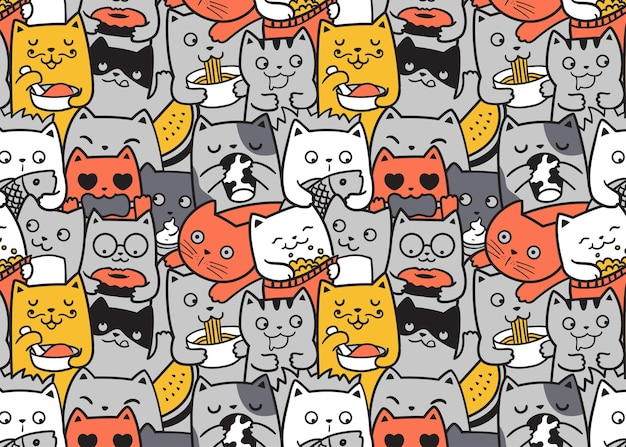Funny cats eating pattern doodle background