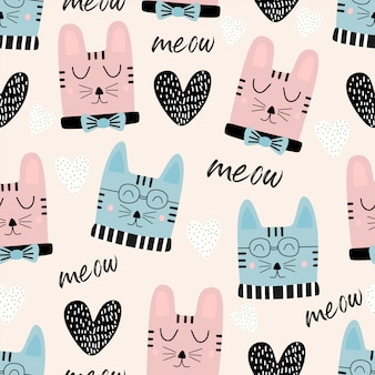 Funny cats head seamless pattern with meow text