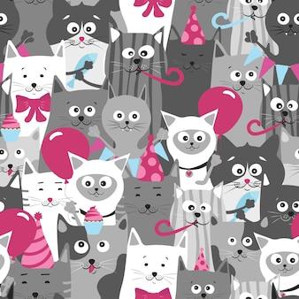 Смешные кошки, бесшовные модели, векторные иллюстрации. милые кошки на день рождения.