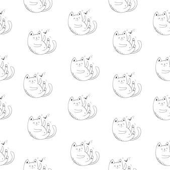 Смешные кошки бесшовные модели, векторные иллюстрации eps10.