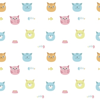 Funny cats vector seamless pattern. creative design for fabric, textile, wallpaper, wrapping paper with cat heads, pet food, fish.