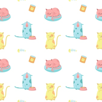 Funny cats vector seamless pattern. creative design for fabric, textile, wallpaper, wrapping paper with cute happy cats licking, sleeping, meowing.