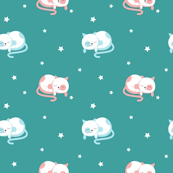 Funny cats vector seamless pattern. creative design for fabric, textile, wallpaper, wrapping paper with cute sleeping cats.