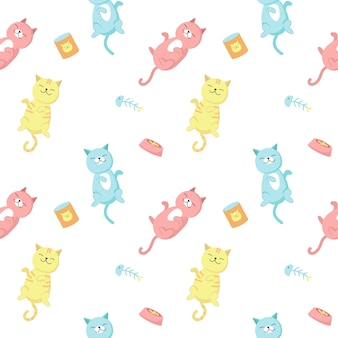 Funny cats vector seamless pattern. creative design with happy playful cats for fabric, textile, wallpaper, wrapping paper.