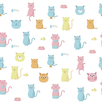Funny cats vector seamless pattern. creative design with licking, eating cats for fabric, textile, wallpaper, wrapping paper.
