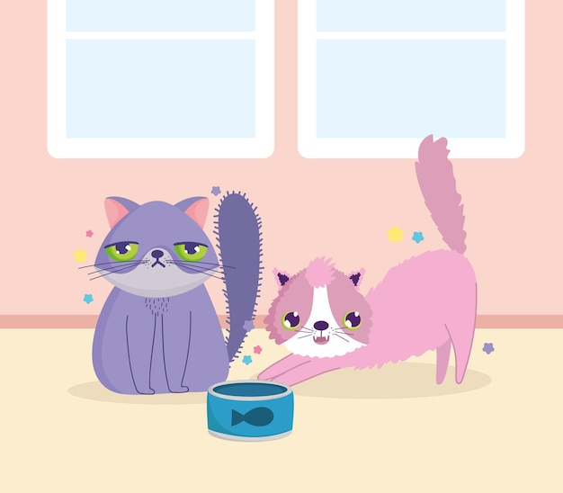 Смешные кошки с миской в комнате мультфильм векторные иллюстрации