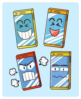 Забавный мобильный телефон с коллекциями лиц в простом стиле каракули