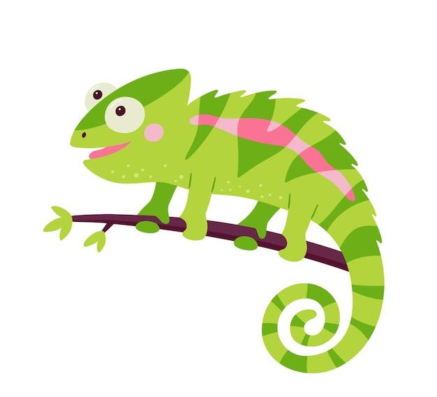 재미있는 카멜레온 도마뱀 캐릭터. 정글 나무의 가지에 앉아 구부러진 꼬리와 녹색 파충류