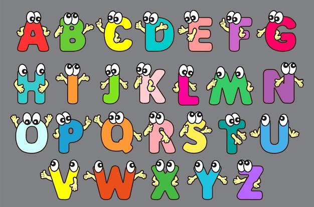 面白い文字のアルファベットのレタリングテキスト。大文字英語abc黒輪郭
