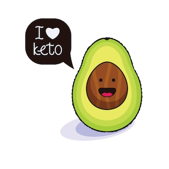 Funny character avocado with a speech bubble.