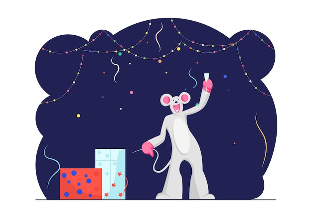 Funny character wearing costume of mouse holding champagne glass in hand in decorated room. cartoon flat illustration