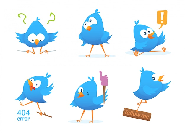 Funny characters of blue birds in action poses. action bird, and funny animal.