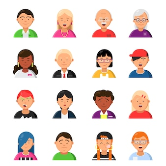 Funny characters male and female. web avatars