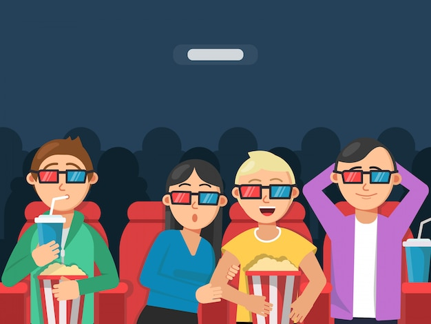 Funny characters watching scary movie in cinema.