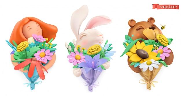 花の花束と変なキャラクター。女の子、イースターのウサギ、クマ。塑像用粘土オブジェクト。 3dセット