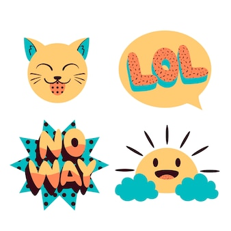 Funny chat bubbles and faces stickers