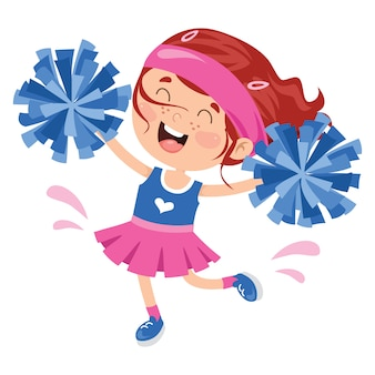 Funny cheerleader holding colorful pom poms