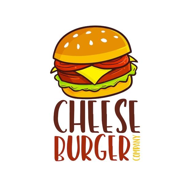 재미 있는 치즈 버거 회사 로고 템플릿