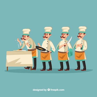 메뉴를 만드는 재미 요리사 그림