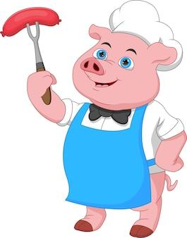 Смешной повар свинья мультфильм держит колбасу
