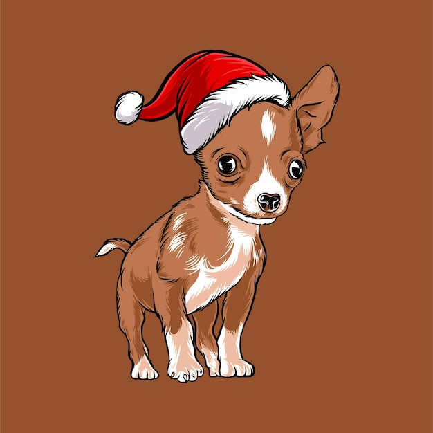 Смешная собака чихуахуа в рождественском костюме санта клауса