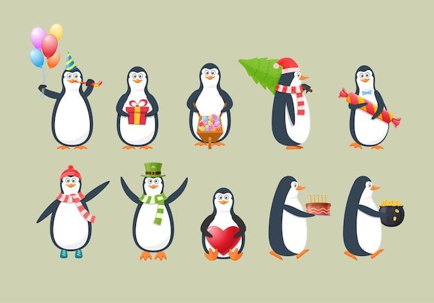 재미있는 유치한 펭귄 세트. 겨울 옷을 입고 선물과 꽃, 크리스마스 트리, 하트, 황금 동전으로 가득 찬 냄비를 들고 있는 사랑스러운 펭귄. 겉옷 만화 벡터에 귀여운 북극 동물
