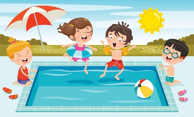 Веселые дети и бассейн