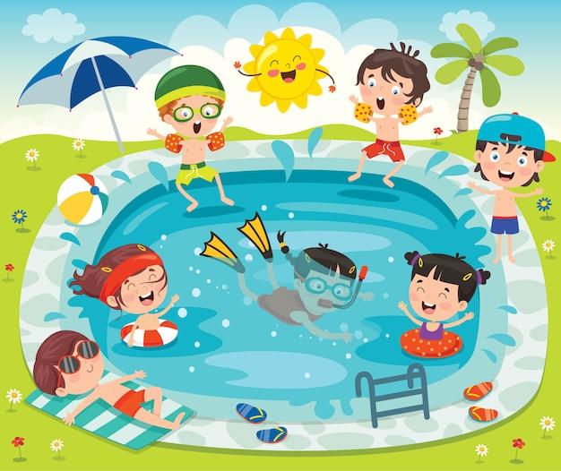 재미 있은 아이들과 수영장