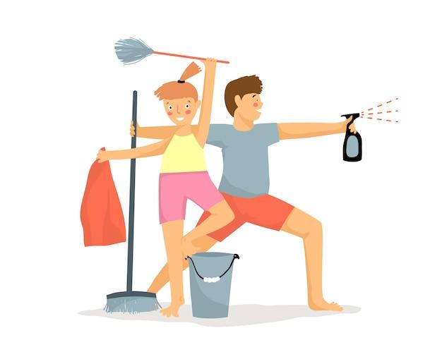 戦士のように家を掃除する面白い子供たち。子供の家事の動機。ダスター、ほうき、バケツ、スプレーのユーモラスな漫画を持つ少年と少女。フラットイラスト