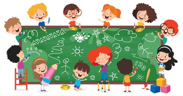 Funny children drawing on blackboard