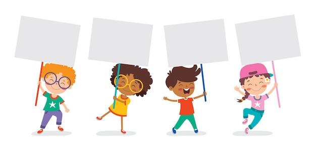 빈 현수막을 들고 재미 있는 아이 들