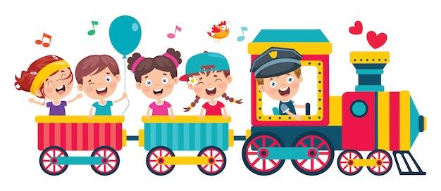 기차를 타고 재미있는 어린이
