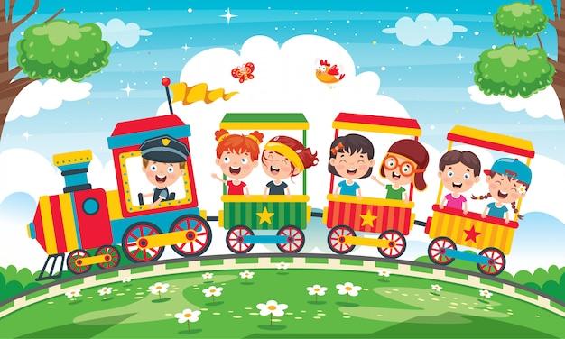 Веселые дети едут в поезде