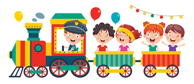 Funny children riding on the train